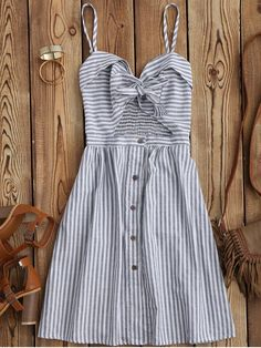 Striped Front Knot Cutout Cami Dress - STRIPE M Mobile
