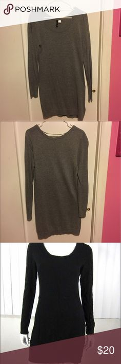 Grey Sweater Dress Grey pullover sweater dress. Well fitting - hugs body but not super tight. Comes to right around mid thigh on me (5'7). Like new condition, only worn once. Third photo not mine, but example of the same dress in black. H&M Sweaters