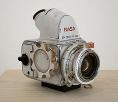 A handmade NASA Hasselblad camera, by artist Tom Sachs. Modified Hasselblad cameras were used during the Apollo program missions when man first landed on the Moon. Almost all of the still photographs taken during these missions used these.