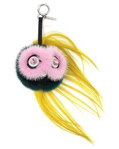 Fendi Beak Mohawk Fur Monster Charm for Handbag, Pink/Blue/Yellow