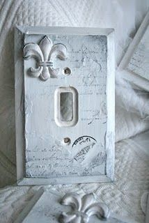 Decorative light switch plate + fleur de lis!