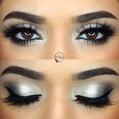 subtle glitter for nye: silver + grey smokey eye @makeupbymeggan , black winged liner, pop of glitter on lower lashline | #new years eve cool-toned glam eye makeup w/ eyeliner