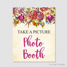 Flower Photo Booth Sign - Floral Bridal Shower Printable Phot Sign - Printable Bridal Shower Signs Games - Photo Booth Decorations - 0011P