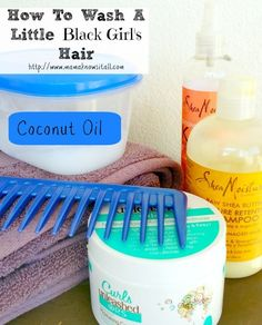 How To Wash A Little Black Girl's Hair. This is pretty much what I do with a slight adjustment: I finger detangle with coconut oil before washing.