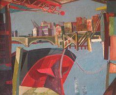"1946 John Minton ""Bridge from Cannon Street Station"" oil on canvas 49 x 60 cm Pembroke College Oxford JCR Art Collection Uk © Royal College of Art. ART & ARTISTS: River Thames paintings part 6 John Minton, Art Fund, Royal College Of Art, London Art, East London, River Thames, The Life, Your Paintings, Oil On Canvas"
