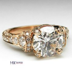Rose Gold Large Cathedral Graduated pave Diamond Engagement Ring