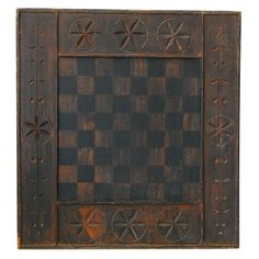 19THC  HAND CARVED  AND PAINTED  GAMEBOARD | From a unique collection of antique and modern game boards at https://www.1stdibs.com/furniture/folk-art/game-boards/