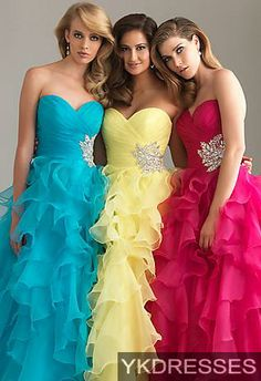 I actually like the blue one on the far left.. I love the ruffles ^.^
