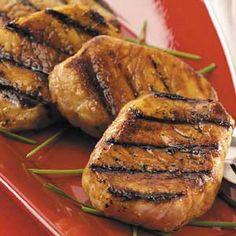 Honey-Soy Pork Chops Recipe Main Dishes with lemon juice, honey, reduced sodium soy sauce, sherry, garlic cloves, pork loin chops