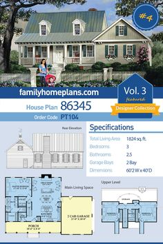 Storybook House Plan 86345 - Cape Cod , Country , Southern Style House Plan with 1824 Sq Ft, 3 Bed, Southern House Plans, Family House Plans, Ranch House Plans, Cottage House Plans, Craftsman House Plans, Country House Plans, New House Plans, Dream House Plans, Modern House Plans