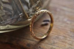 Antique Gold Ring  Thin 14k Yellow Gold by TheNorthWayStudio
