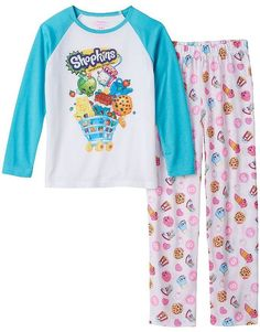 Shopkins Girls Pajamas Long Sleeve Lightweight Sleepwear Small Size Shopkins girls pajamas are soft, cuddly, and feature Shopkins graphics throughout! Shopkins Girls, Shopkins Outfit, Shopkins Clothes, Kids Outfits, Cute Outfits, Thing 1, Girl Sleeves, Kids Fashion, Toys