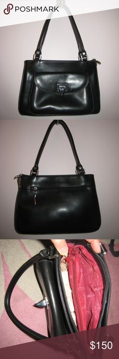 "LANCASTER PARIS black leather purse w/ red lining LANCASTER PARIS black leather purse w/ red lining. Purchased in Paris, France while traveling. Nice ""structured"" work purse. Also have black wallet that matches and white leather purse & wallet set LANCASTER PARIS Bags Shoulder Bags"