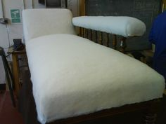 Calico was added and then covered with polyester wadding prior to cover material. Restoration, Upholstery, Lounge, Couch, Furniture, Home Decor, Chaise Longue, Airport Lounge, Tapestries