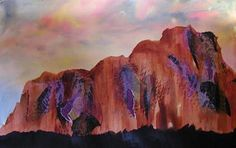 Superstition Mountain - Original Mixed media - original painting by BJ Woodland-Clausen