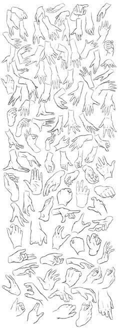 video tutoriales para aprender a dibujar manos y una serie de imágenes que de forma muy gráfica muestra diferentes posiciones de las manos