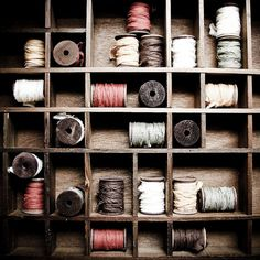 display of ribbons on spools
