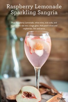 Raspberry Lemonade Sparkling Sangria: add raspberry lemonade, white wine, club soda and sugar in the raw into a large glass. Add peach slices and raspberries to complete the recipe for a delicious tasting summer drink. Cocktails Champagne, Sparkling Sangria, Cocktail Drinks, White Wine Cocktail, Pink Sangria, Sangria Cocktail, White Wine Sangria, Summer Drinks, Fun Drinks