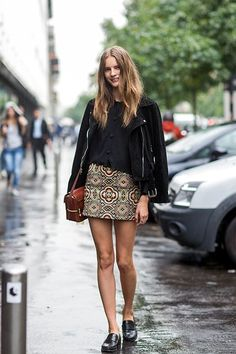 The Anti-Teenage Approach To Wearing Miniskirts #refinery29  http://www.refinery29.com/miniskirt-outfits#slide-2  A long, vintage skirt can be chopped into a mini to give it a new lease on life. Wear it with all black so it really pops.For a similar style, try: