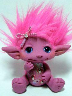 OOAK Pink and Purple Trollfling Troll girl Cherie by Trollflings, $115.00