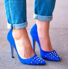 blue blue blue suede shoes...with Studs!  I'd rock these!
