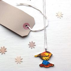 Bird Necklace ~ Lovely Spring Wedding Accessory Garden Bird Shrink Plastic Jewellery Sweet Gift for Her.
