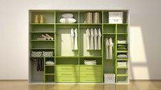 Šatní skříň v provedení barevného lamina s využitím polic pro ložní prádlo.