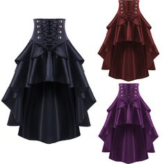 Victorian Ladies Gothic Style Steampunk Skirt Vintage Cocktail Costume Dress