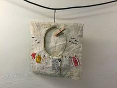 Vintage Textiles and Embroidery, Folk Art Embroidered & Applique Linen Peg Bag. Clothespin Bag, Peg Bag, Vintage Textiles, Sewing Ideas, Christmas Stockings, Folk Art, Applique, Laundry, Bee