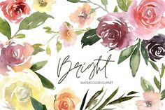 Rose Clipart, Flower Clipart, Illustrations, Graphic Illustration, Watercolor Flowers, Watercolor Art, Design Crafts, Printing On Fabric, How To Draw Hands
