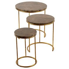 Camby Modern Classic Gold Stone Tri Step End Table >>> Click on the image for additional details.