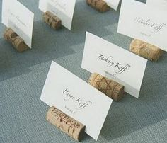 wines, place card holders, idea, wine corks, place cards, weddings, names, escort card, name cards