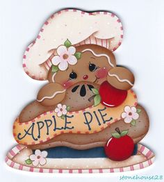 HP GINGERBREAD Apple Pie FRIDGE MAGNET #Handpainted