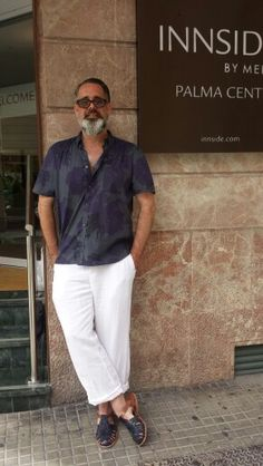 French Connection Shirt and White Linen Trousers.