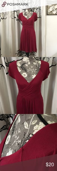 """Anthropologie Velvet Little Red Dress SZ S Absolutely adorable, sweet little red dress by Velvet for Anthropologie. Gorgeous cranberry color with pretty gathered details in the front Velvet is known for. Super soft rayon/spandex. Gently loved, with no imperfections other than some light wash wear. Not noticeable when worn. Priced accordingly. 17"""" bust, 14.5"""" waist with lots of stretch. 35"""" length. Such a pretty dress! Anthropologie Dresses"""