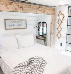 This farmhouse inspired RV bedroom is so light and bright! Rv, Bedroom, Farmhouse, Bright, Inspired, Inspiration, Furniture, Home Decor, Biblical Inspiration