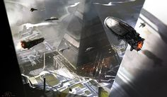 Futuristic, hovering craft in cityscape with pyramidal buildings.
