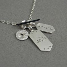 Silver men's pendants and chain  Personalised by JewellCollect