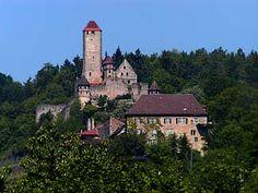 Hornberg Castle overlooks the town of Neckarzimmern, Germany