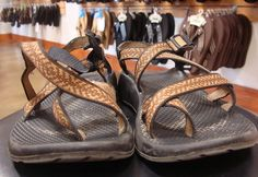 Cleaning Chaco sandals - pull straps to expose as much as possible.  Washing machine with a few bulky towels and gentle detergent.  Air dry.