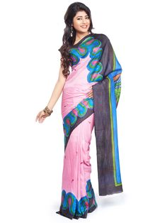Saree represents the traditional look and this is the one of the beautiful saree with big border hand painting designs.