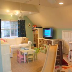 Gender Neutral Nursery and Playroom Cute playroom, but i see a couple things wrong. white couch in kids playroom. this playroom is too perfect. It won't be this clean in real life. Playroom Design, Playroom Decor, Indoor Playroom, Playroom Layout, Loft Playroom, Toddler Playroom, Playroom Organization, Organization Ideas, Bonus Room Playroom