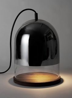 Lampe cloche by Sibylle Stœckli. A sweet cloche lamp perfect for a masculine or monochrome color scheme. Verre Design, Luminaire Design, Lamp Design, Cool Lighting, Lighting Design, Pendant Lighting, Lighting Ideas, Light Table, Lamp Light