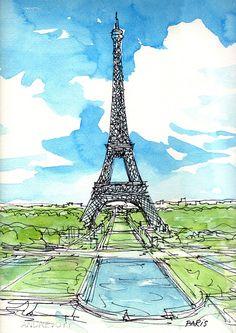 Tour Eiffel Paris 2e art imprimer à partir d'une par AndreVoyy