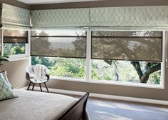 A timeless look of layered shades. We've combined Fabric Shades and Natural Shades. #bedrooms #shades #bedroomshades