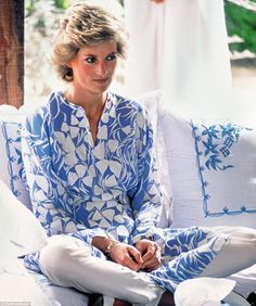 Demure Diana in a Catherine Walker outfit at a picnic in the desert during a tour of Saudi Arabia with Charles. It was 1986 and, although the world did not yet know it, their marriage was in deep trouble