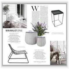 Fashion set Minimalist outdoor style created via Outdoor Fashion, Outdoor Furniture Sets, Outdoor Decor, Vases Decor, Minimalist Fashion, Stylists, Fashion Looks, Elegant, Modern