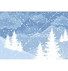 Winter mountain landscape with fir trees vector 2156829 - by oksanaok on VectorStock®
