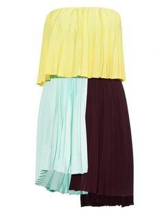 Emilio De La Morena Tri-coloured Pleated Dress