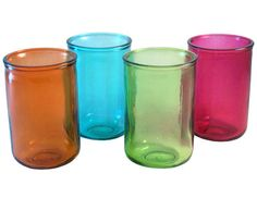 Colorful Recycled Highball Glasses by Evergreen Enterprises - featured on Ebay Green - These cups are perfect for any occasion and definitely help to brighten up a room. They would also serve as simple decor lined up in a row for storing small items. It's an easy way to add a pop of color among neutral-colored furniture and wood grain. Made out of recycled glass. | find this at ebay.com | #greendorm